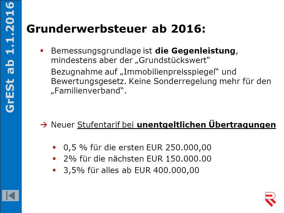 """Grunderwerbsteuer ab 2016:  Bemessungsgrundlage ist die Gegenleistung, mindestens aber der """"Grundstückswert"""" Bezugnahme auf """"Immobilienpreisspiegel"""""""