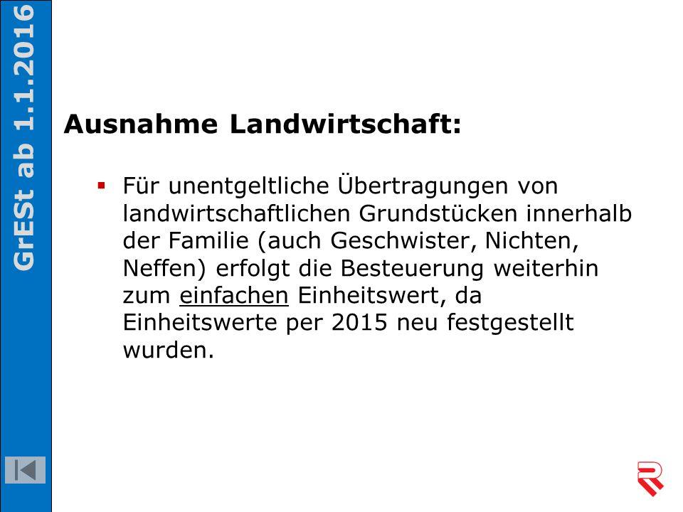 Ausnahme Landwirtschaft:  Für unentgeltliche Übertragungen von landwirtschaftlichen Grundstücken innerhalb der Familie (auch Geschwister, Nichten, Ne