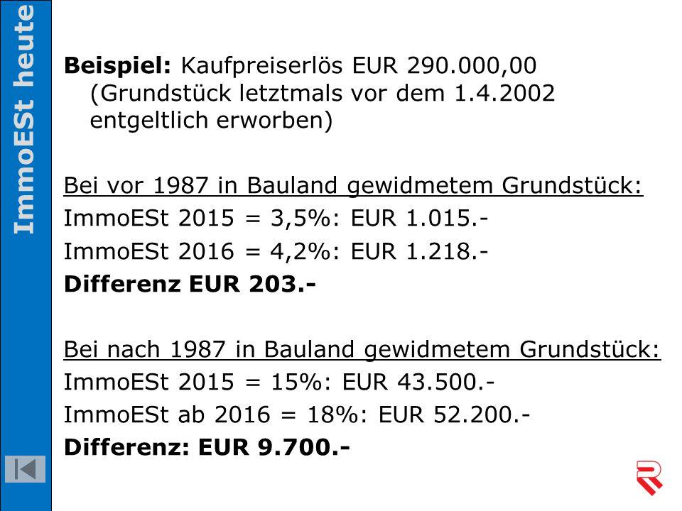 Beispiel: Kaufpreiserlös EUR 290.000,00 (Grundstück letztmals vor dem 1.4.2002 entgeltlich erworben) Bei vor 1987 in Bauland gewidmetem Grundstück: Im