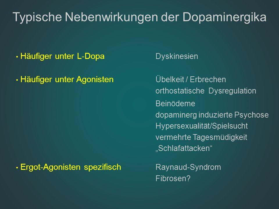 Typische Nebenwirkungen der Dopaminergika Häufiger unter L-Dopa Dyskinesien Häufiger unter Agonisten Übelkeit / Erbrechen orthostatische Dysregulation