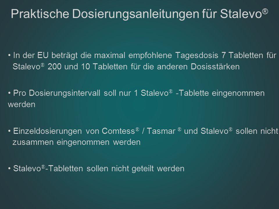 Praktische Dosierungsanleitungen für Stalevo ® In der EU beträgt die maximal empfohlene Tagesdosis 7 Tabletten für Stalevo ® 200 und 10 Tabletten für