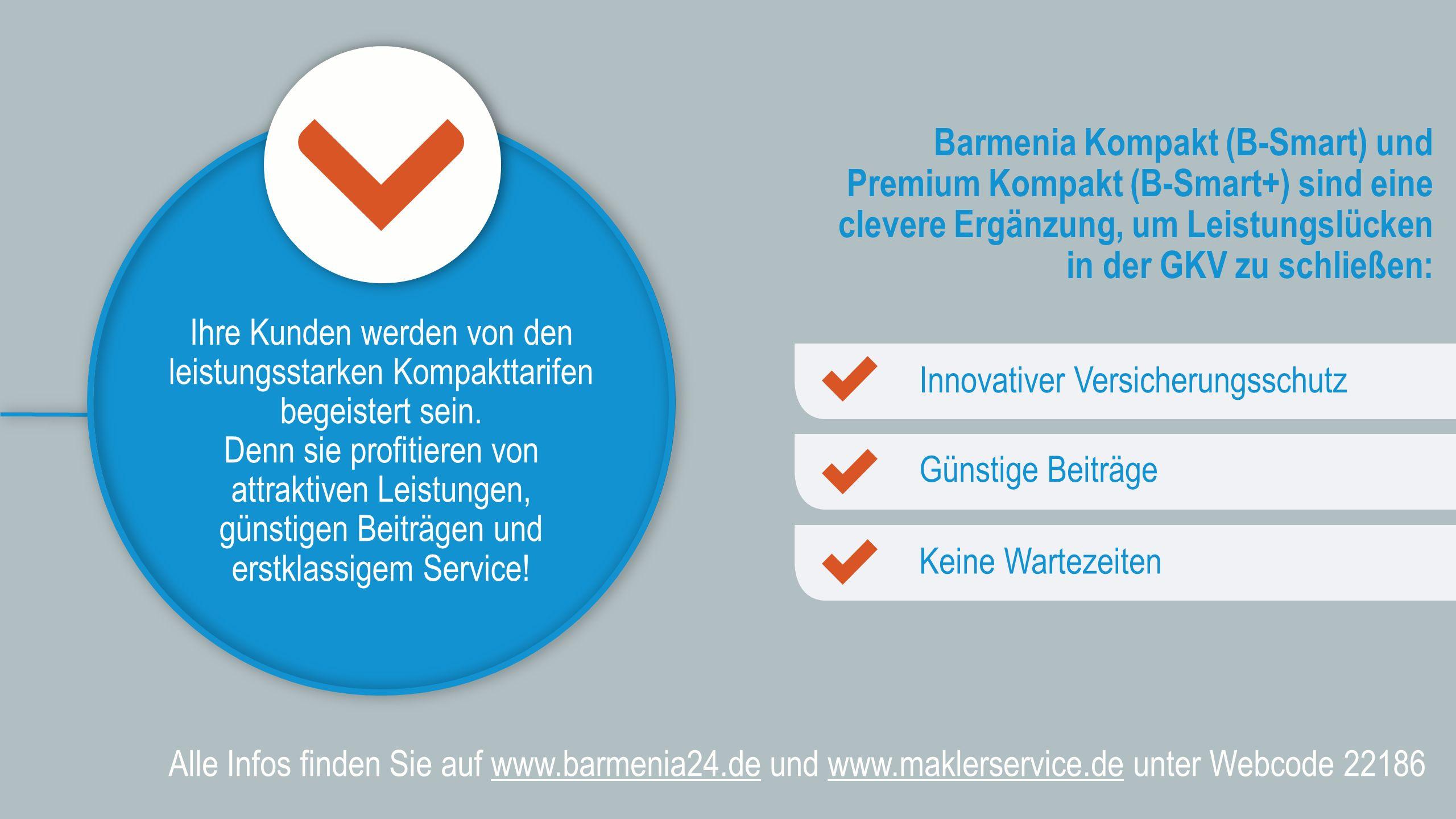 Alle Infos finden Sie auf www.barmenia24.de und www.maklerservice.de unter Webcode 22186 Barmenia Kompakt (B-Smart) und Premium Kompakt (B-Smart+) sind eine clevere Ergänzung, um Leistungslücken in der GKV zu schließen: Ihre Kunden werden von den leistungsstarken Kompakttarifen begeistert sein.