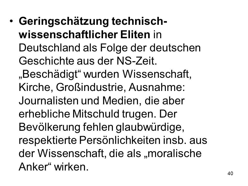 """40 Geringschätzung technisch- wissenschaftlicher Eliten in Deutschland als Folge der deutschen Geschichte aus der NS-Zeit. """"Beschädigt"""" wurden Wissens"""