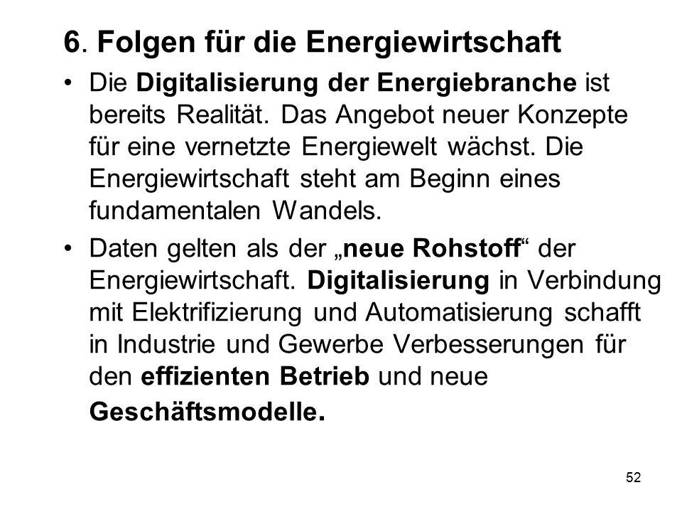 6. Folgen für die Energiewirtschaft Die Digitalisierung der Energiebranche ist bereits Realität. Das Angebot neuer Konzepte für eine vernetzte Energie