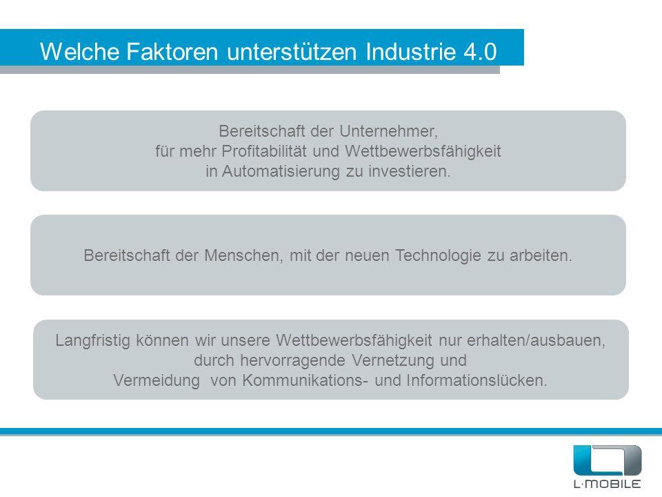 Welche Faktoren unterstützen Industrie 4.0 Bereitschaft der Unternehmer, für mehr Profitabilität und Wettbewerbsfähigkeit in Automatisierung zu invest