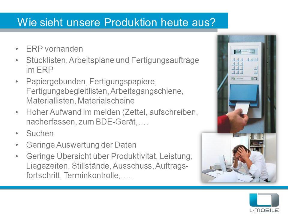 Wie sieht unsere Produktion heute aus? ERP vorhanden Stücklisten, Arbeitspläne und Fertigungsaufträge im ERP Papiergebunden, Fertigungspapiere, Fertig