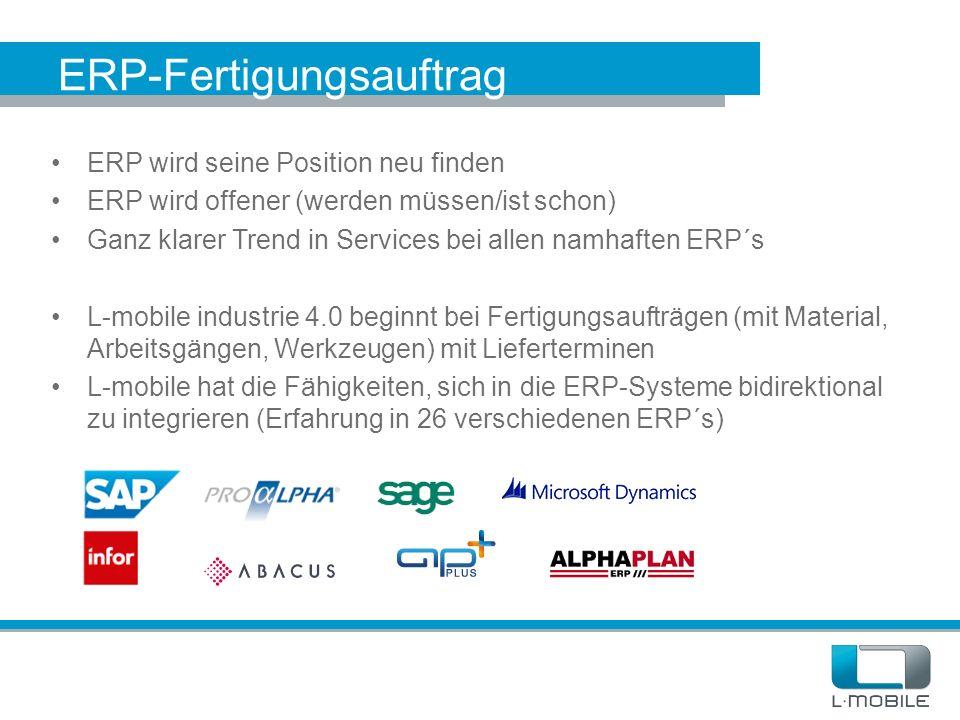 ERP-Fertigungsauftrag ERP wird seine Position neu finden ERP wird offener (werden müssen/ist schon) Ganz klarer Trend in Services bei allen namhaften