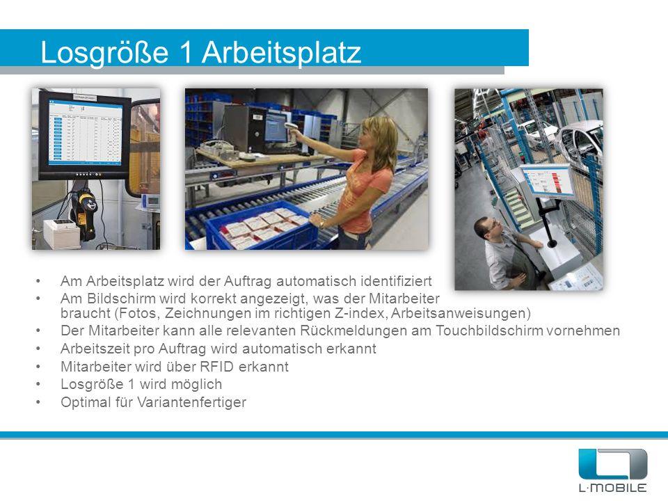 Losgröße 1 Arbeitsplatz Am Arbeitsplatz wird der Auftrag automatisch identifiziert Am Bildschirm wird korrekt angezeigt, was der Mitarbeiter braucht (