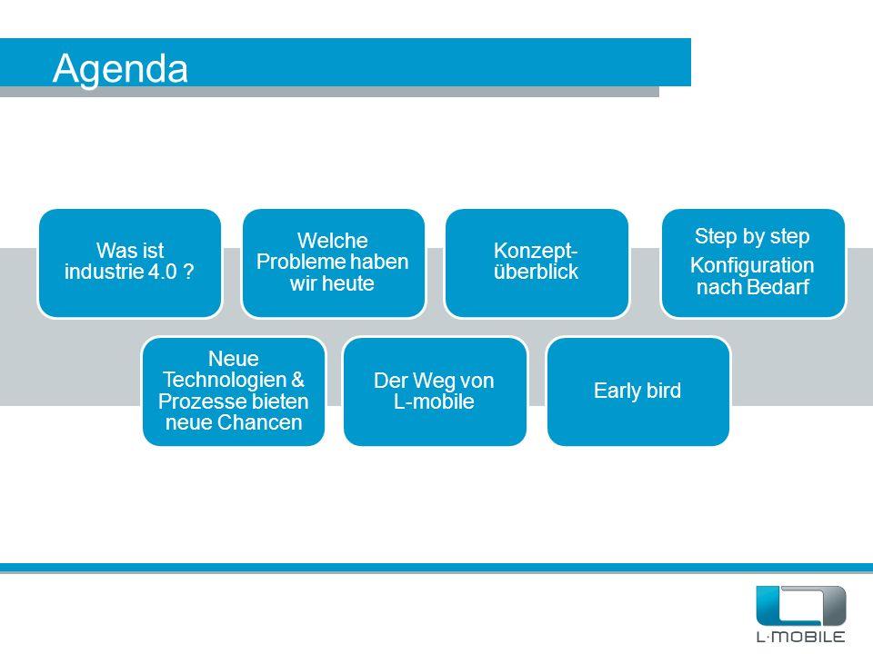 Agenda Was ist industrie 4.0 ? Welche Probleme haben wir heute Konzept- überblick Neue Technologien & Prozesse bieten neue Chancen Step by step Konfig