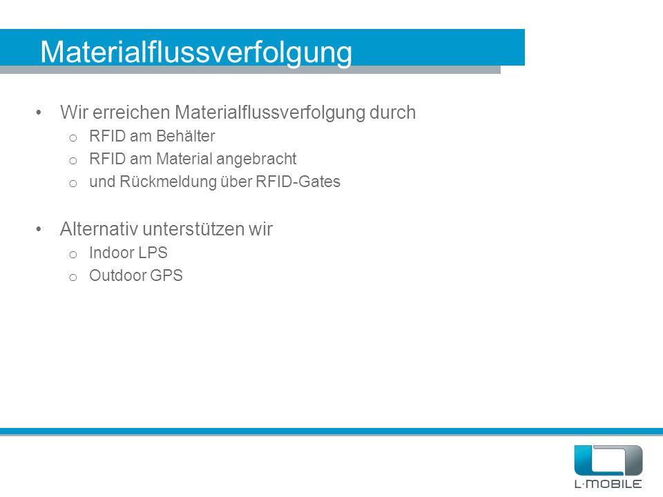 Materialflussverfolgung Wir erreichen Materialflussverfolgung durch o RFID am Behälter o RFID am Material angebracht o und Rückmeldung über RFID-Gates