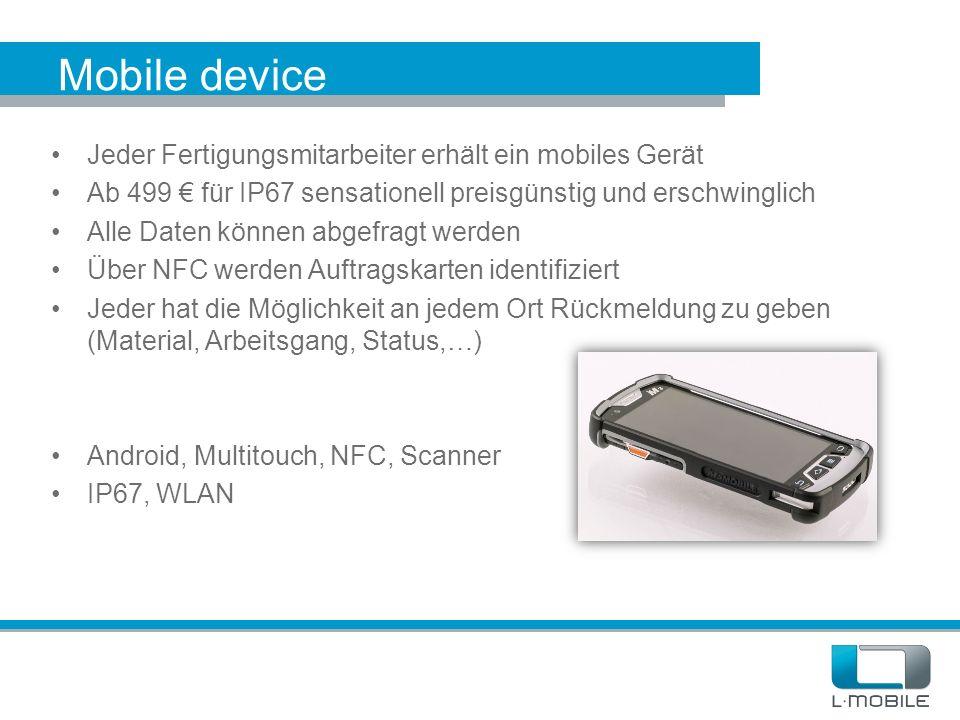 Mobile device Jeder Fertigungsmitarbeiter erhält ein mobiles Gerät Ab 499 € für IP67 sensationell preisgünstig und erschwinglich Alle Daten können abg