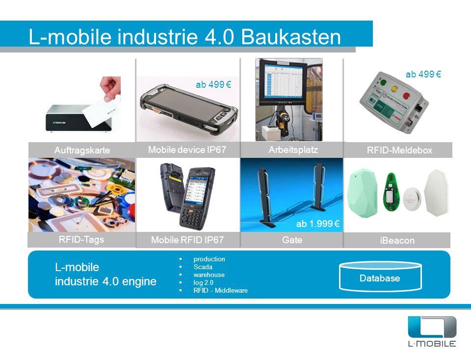 L-mobile industrie 4.0 Baukasten L-mobile industrie 4.0 engine Database  production  Scada  warehouse  log 2.0  RFID - Middleware Mobile device I