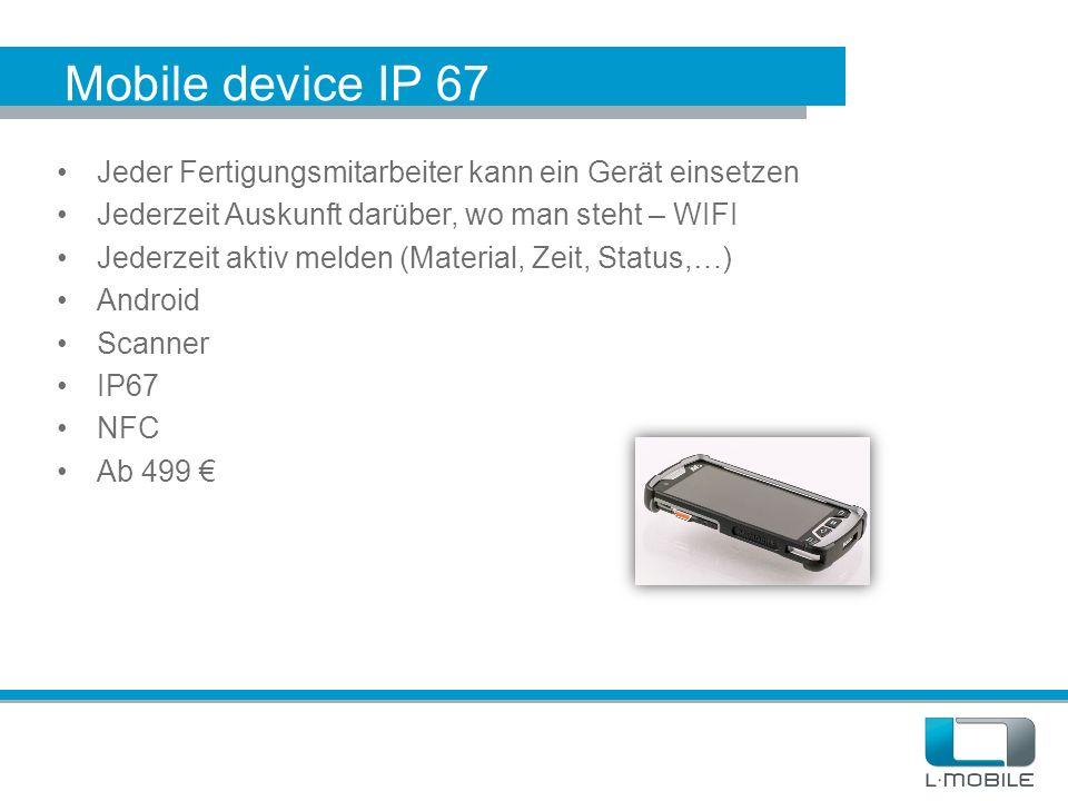 Mobile device IP 67 Jeder Fertigungsmitarbeiter kann ein Gerät einsetzen Jederzeit Auskunft darüber, wo man steht – WIFI Jederzeit aktiv melden (Mater