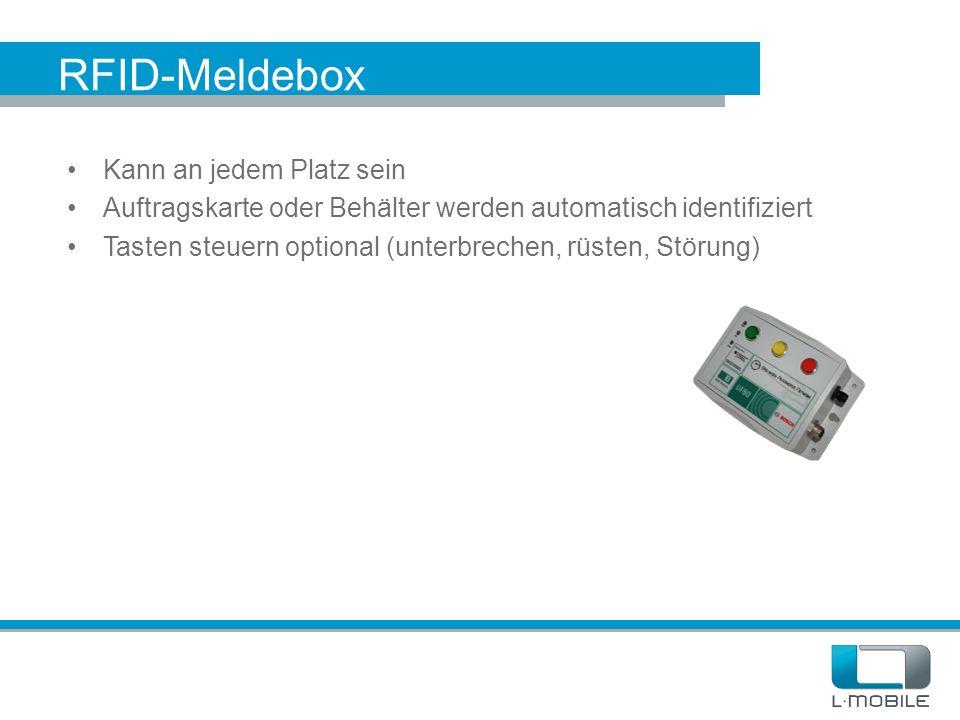 RFID-Meldebox Kann an jedem Platz sein Auftragskarte oder Behälter werden automatisch identifiziert Tasten steuern optional (unterbrechen, rüsten, Stö