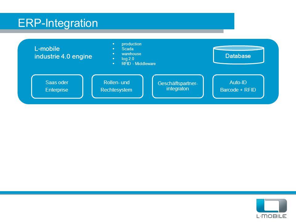 ERP-Integration L-mobile industrie 4.0 engine Database  production  Scada  warehouse  log 2.0  RFID - Middleware Saas oder Enterprise Rollen- und