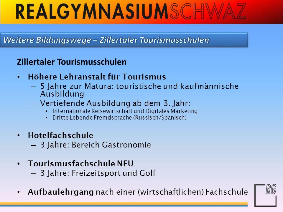 Zillertaler Tourismusschulen Höhere Lehranstalt für Tourismus – 5 Jahre zur Matura: touristische und kaufmännische Ausbildung – Vertiefende Ausbildung