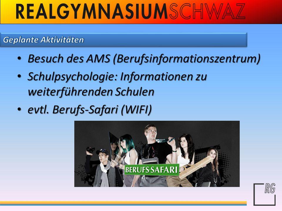 Besuch des AMS (Berufsinformationszentrum) Besuch des AMS (Berufsinformationszentrum) Schulpsychologie: Informationen zu weiterführenden Schulen Schul