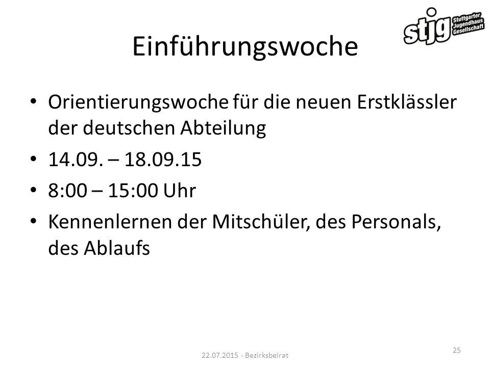Einführungswoche Orientierungswoche für die neuen Erstklässler der deutschen Abteilung 14.09. – 18.09.15 8:00 – 15:00 Uhr Kennenlernen der Mitschüler,