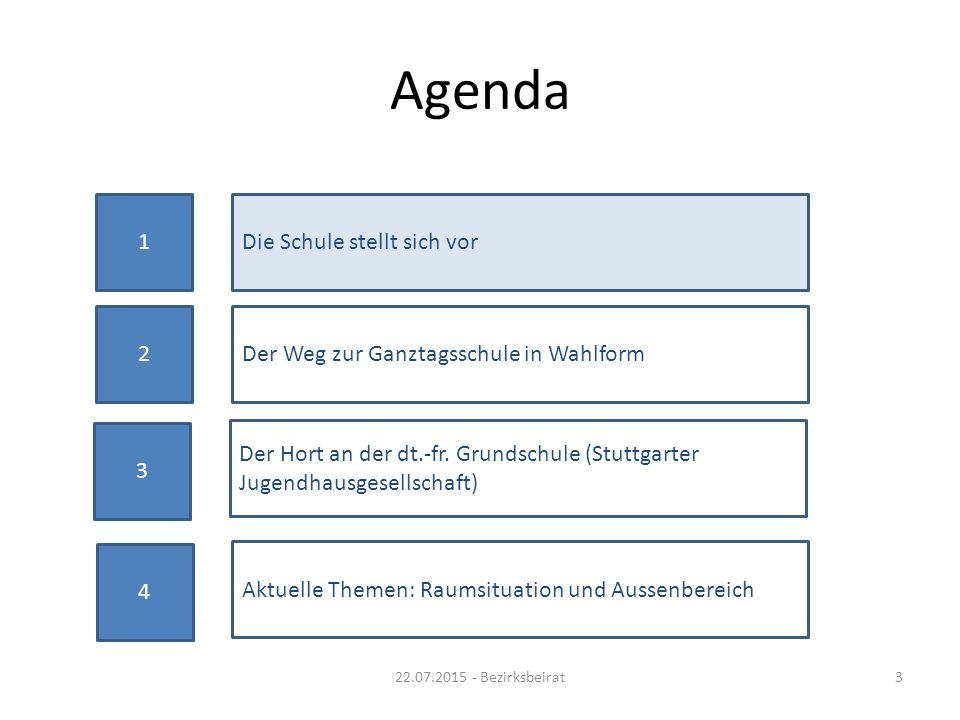 Agenda 22.07.2015 - Bezirksbeirat3 1Die Schule stellt sich vor 2Der Weg zur Ganztagsschule in Wahlform Aktuelle Themen: Raumsituation und Aussenbereic