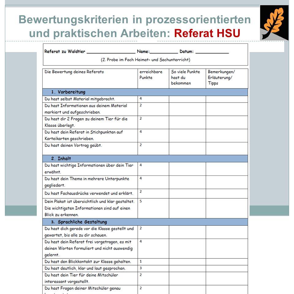 Bewertungskriterien in prozessorientierten und praktischen Arbeiten: Referat HSU