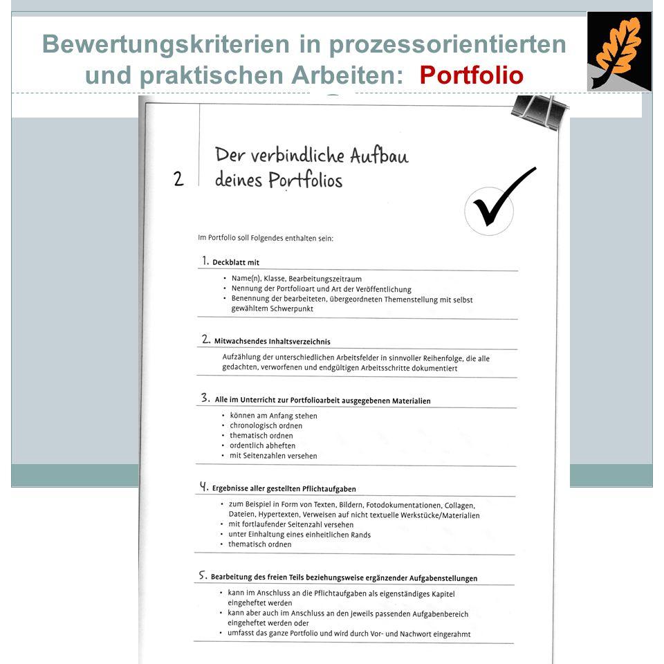 Bewertungskriterien in prozessorientierten und praktischen Arbeiten: Portfolio