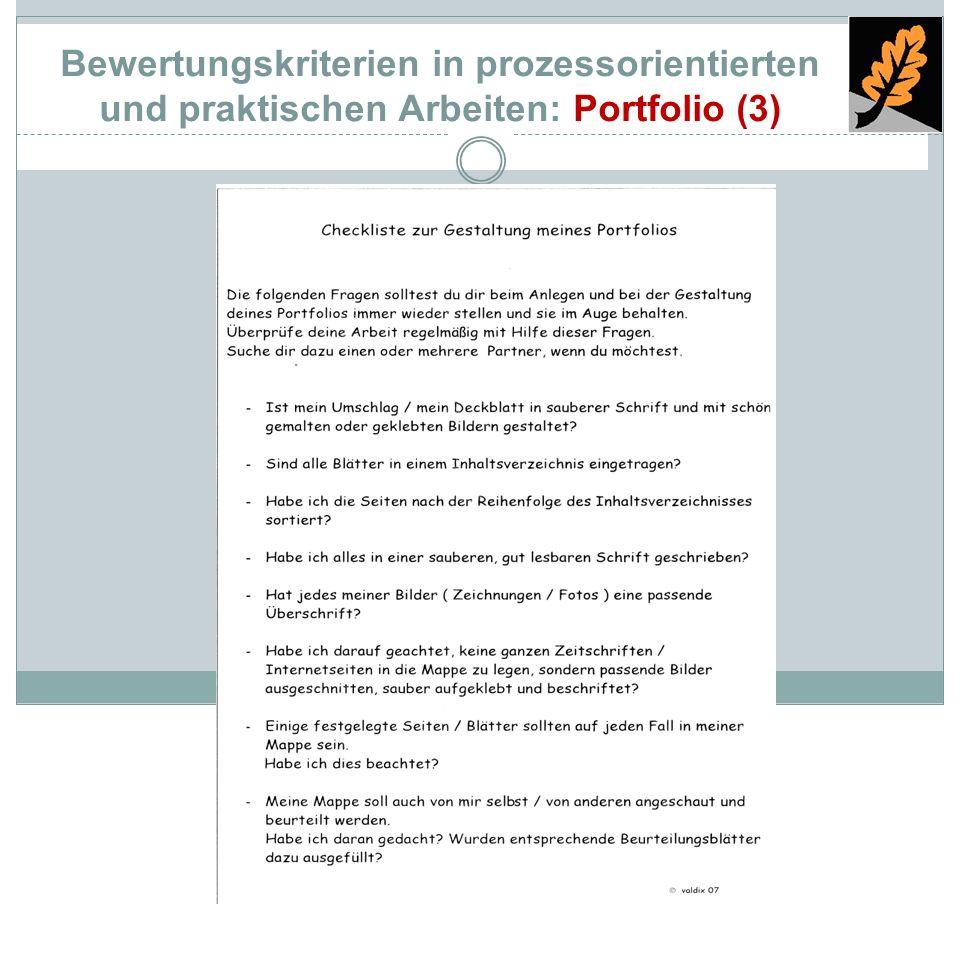 Bewertungskriterien in prozessorientierten und praktischen Arbeiten: Portfolio (3)