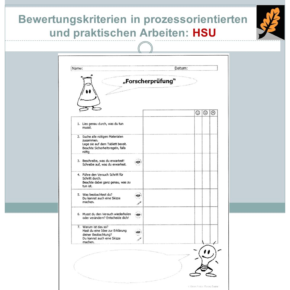 Bewertungskriterien in prozessorientierten und praktischen Arbeiten: HSU