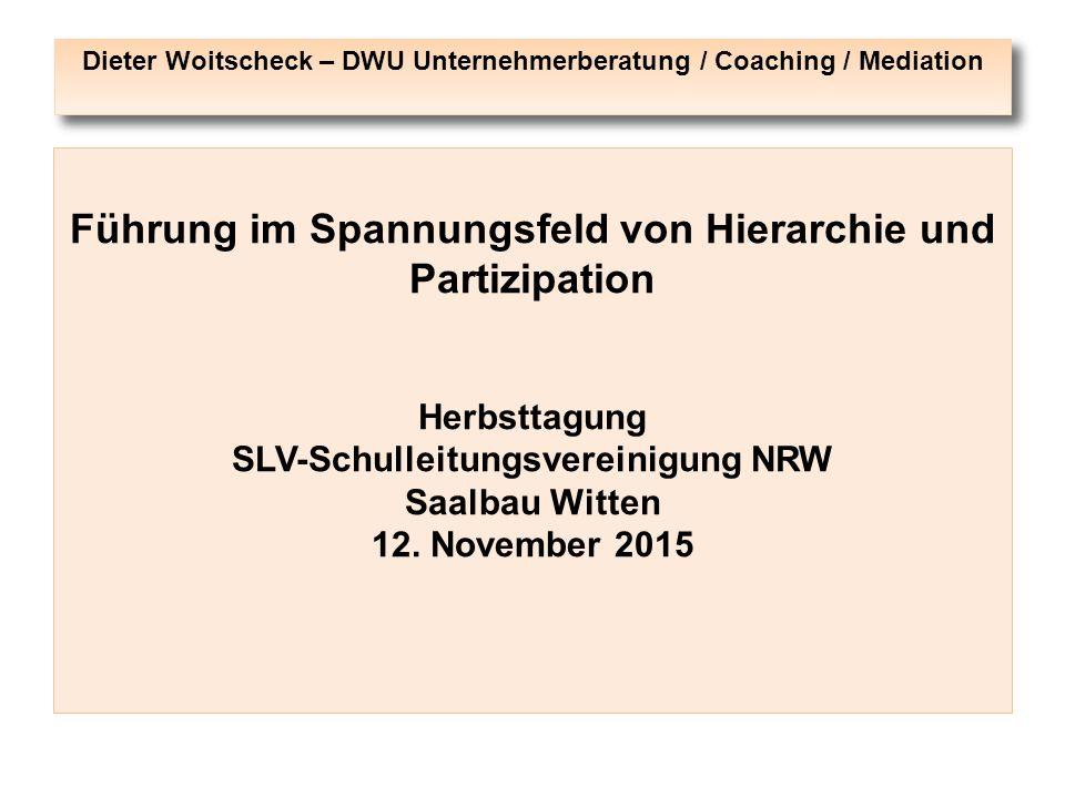 Dieter Woitscheck – DWU Unternehmerberatung / Coaching / Mediation Führung im Spannungsfeld von Hierarchie und Partizipation Herbsttagung SLV-Schullei