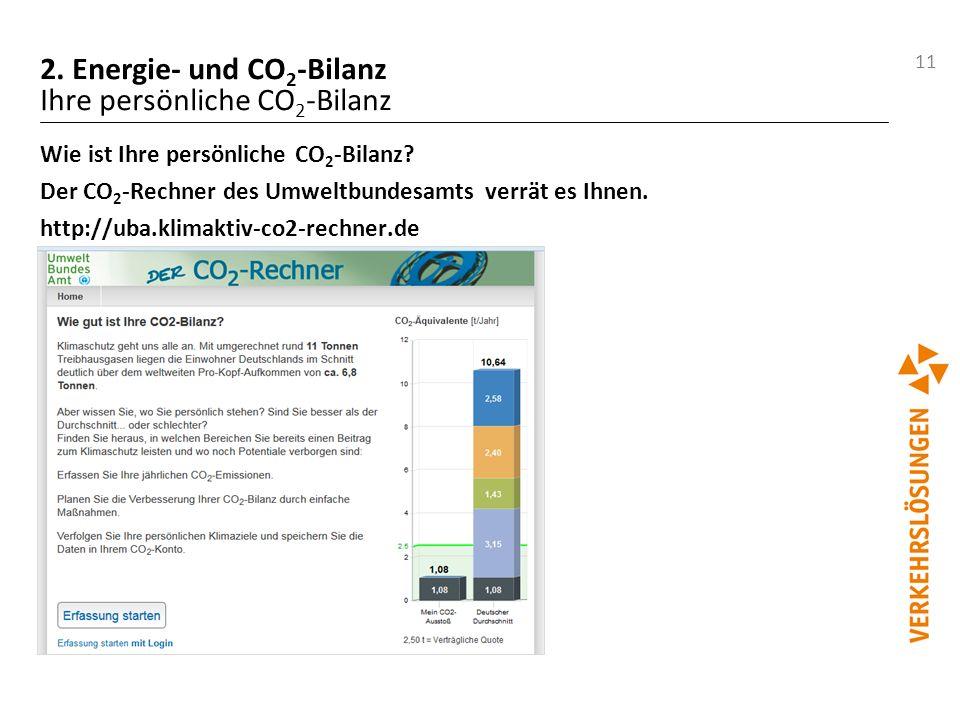 11 2. Energie- und CO 2 -Bilanz Ihre persönliche CO 2 -Bilanz Wie ist Ihre persönliche CO 2 -Bilanz? Der CO 2 -Rechner des Umweltbundesamts verrät es