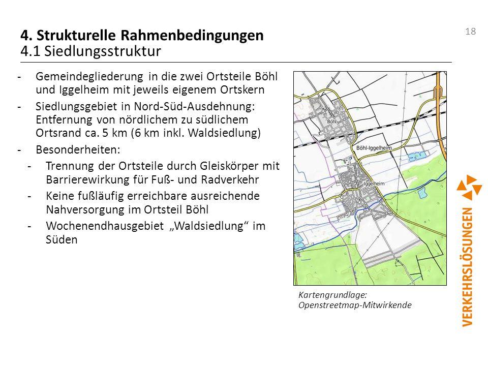 18 4. Strukturelle Rahmenbedingungen 4.1 Siedlungsstruktur -Gemeindegliederung in die zwei Ortsteile Böhl und Iggelheim mit jeweils eigenem Ortskern -