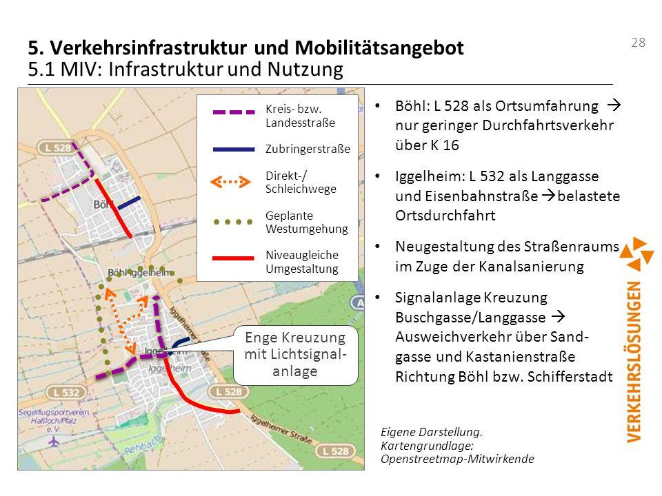 28 5. Verkehrsinfrastruktur und Mobilitätsangebot 5.1 MIV: Infrastruktur und Nutzung Eigene Darstellung. Kartengrundlage: Openstreetmap-Mitwirkende Bö
