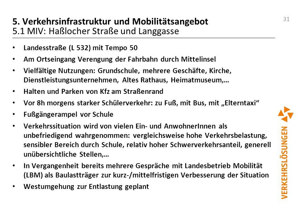 31 5. Verkehrsinfrastruktur und Mobilitätsangebot 5.1 MIV: Haßlocher Straße und Langgasse Landesstraße (L 532) mit Tempo 50 Am Ortseingang Verengung d
