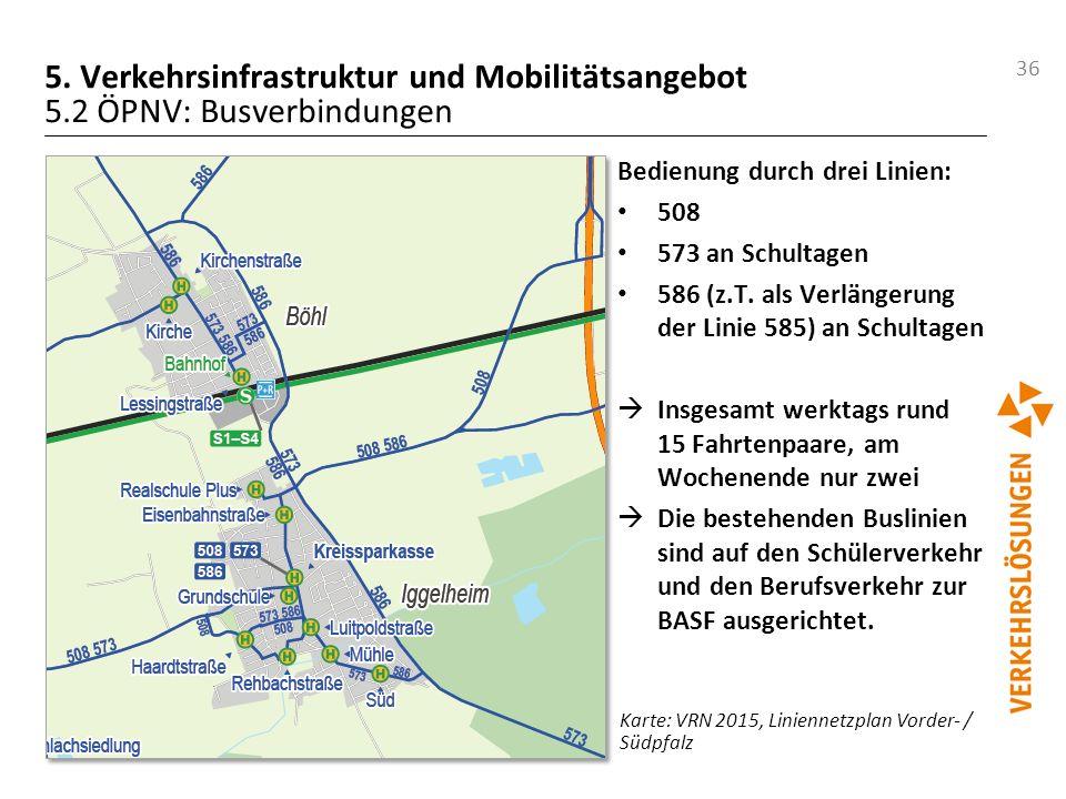 36 5. Verkehrsinfrastruktur und Mobilitätsangebot 5.2 ÖPNV: Busverbindungen Bedienung durch drei Linien: 508 573 an Schultagen 586 (z.T. als Verlänger