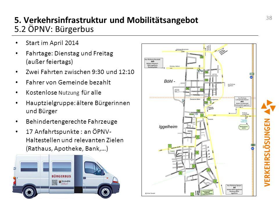 38 5. Verkehrsinfrastruktur und Mobilitätsangebot 5.2 ÖPNV: Bürgerbus Start im April 2014 Fahrtage: Dienstag und Freitag (außer feiertags) Zwei Fahrte