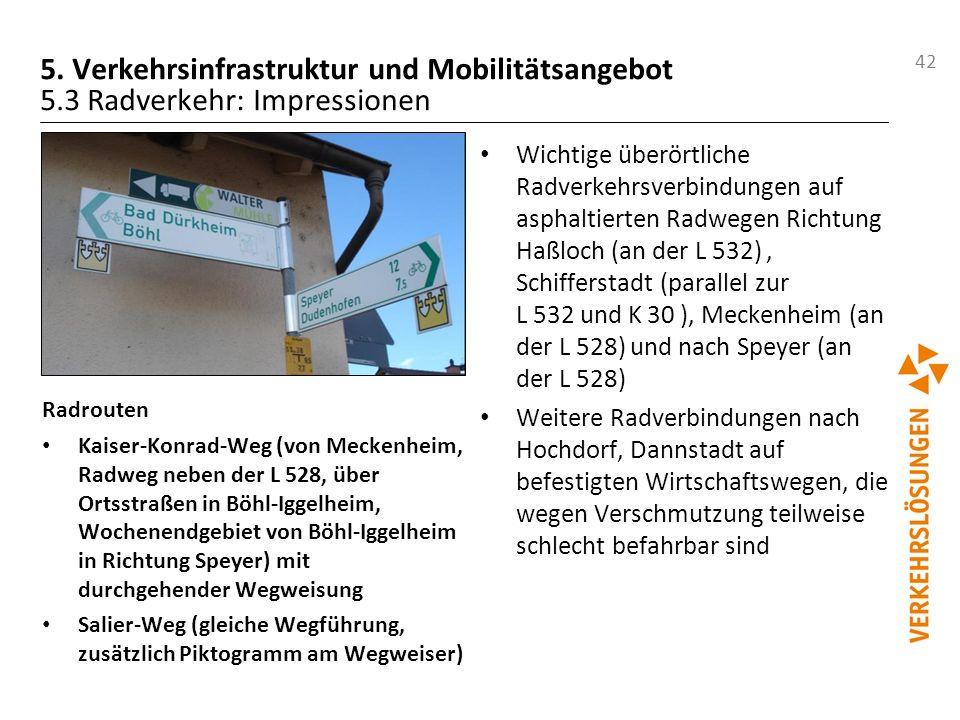 42 5. Verkehrsinfrastruktur und Mobilitätsangebot 5.3 Radverkehr: Impressionen Radrouten Kaiser-Konrad-Weg (von Meckenheim, Radweg neben der L 528, üb