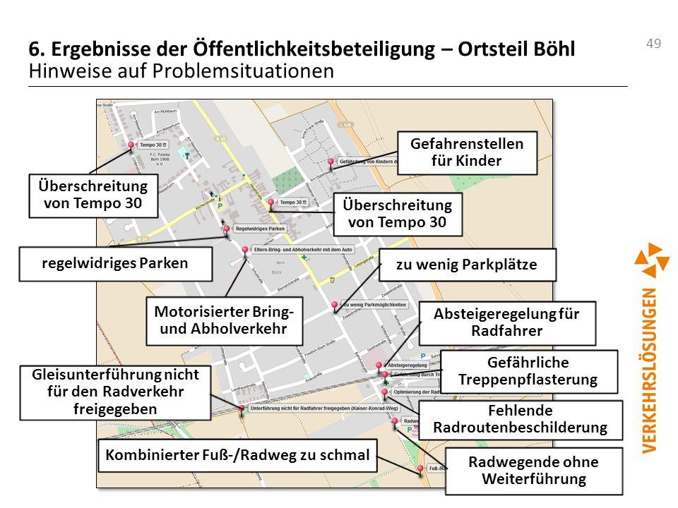 49 6. Ergebnisse der Öffentlichkeitsbeteiligung – Ortsteil Böhl Hinweise auf Problemsituationen Überschreitung von Tempo 30 zu wenig Parkplätze regelw