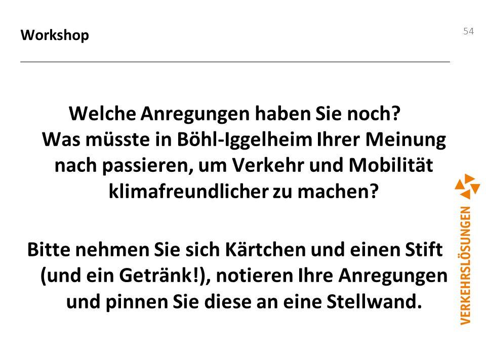 54 Workshop Welche Anregungen haben Sie noch? Was müsste in Böhl-Iggelheim Ihrer Meinung nach passieren, um Verkehr und Mobilität klimafreundlicher zu