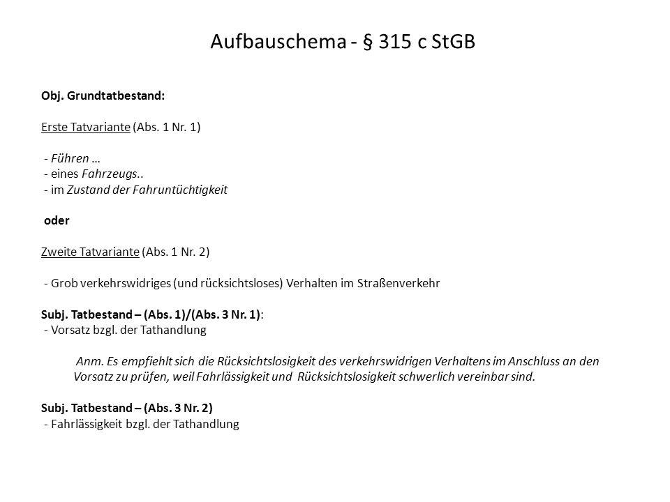 Aufbauschema - § 315 c StGB Obj. Grundtatbestand: Erste Tatvariante (Abs. 1 Nr. 1) - Führen … - eines Fahrzeugs.. - im Zustand der Fahruntüchtigkeit o