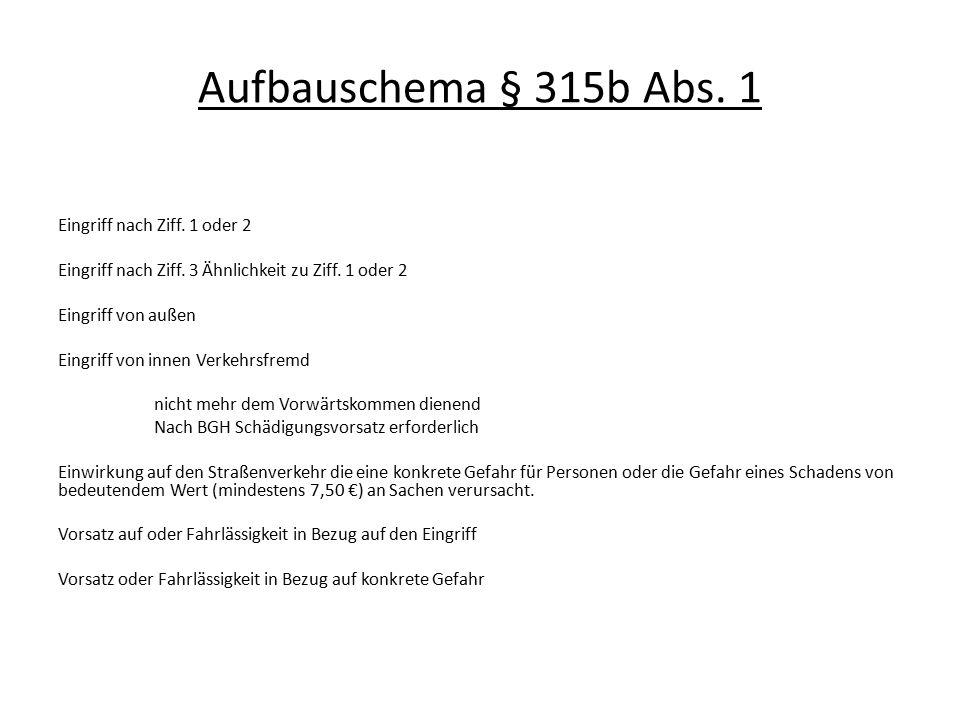 Aufbauschema § 315b Abs. 1 Eingriff nach Ziff. 1 oder 2 Eingriff nach Ziff. 3 Ähnlichkeit zu Ziff. 1 oder 2 Eingriff von außen Eingriff von innen Verk
