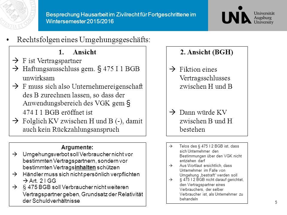 Besprechung Hausarbeit im Zivilrecht für Fortgeschrittene im Wintersemester 2015/2016 Rechtsfolgen eines Umgehungsgeschäfts: 5 1.Ansicht  F ist Vertr
