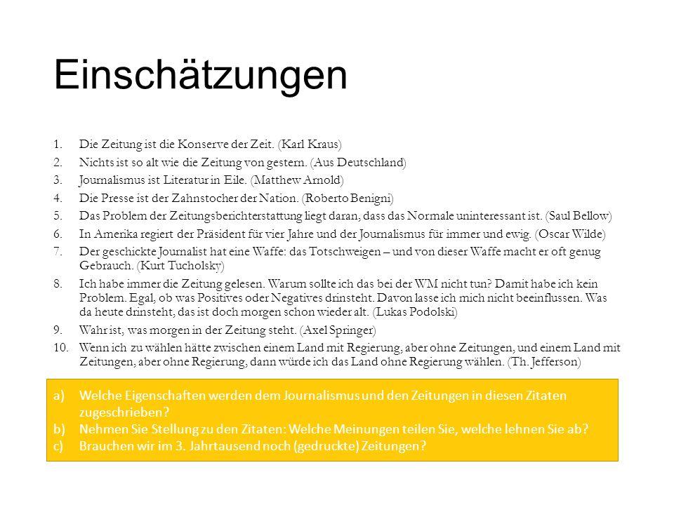 Einschätzungen 1.Die Zeitung ist die Konserve der Zeit. (Karl Kraus) 2.Nichts ist so alt wie die Zeitung von gestern. (Aus Deutschland) 3.Journalismus