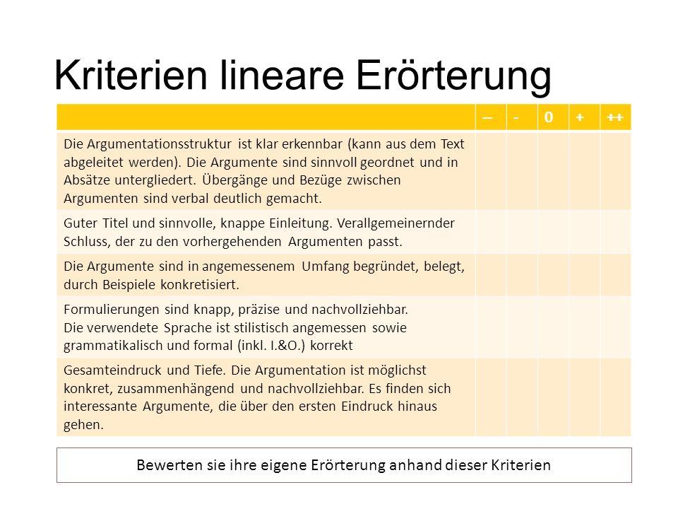 Kriterien lineare Erörterung ---0+++ Die Argumentationsstruktur ist klar erkennbar (kann aus dem Text abgeleitet werden). Die Argumente sind sinnvoll