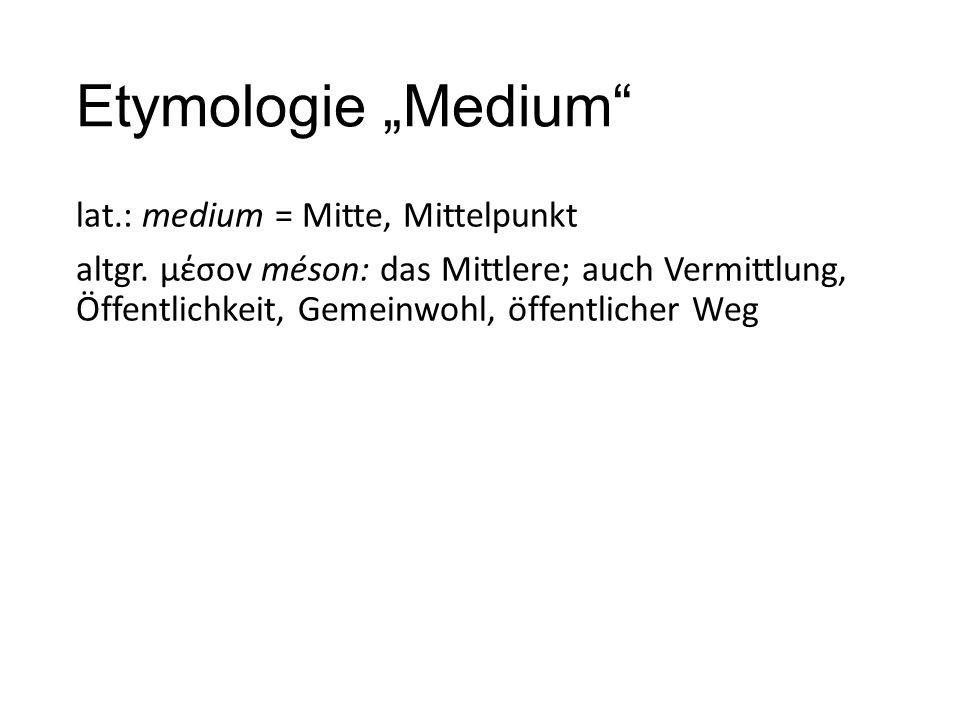"""Etymologie """"Medium"""" lat.: medium = Mitte, Mittelpunkt altgr. μέσov méson: das Mittlere; auch Vermittlung, Öffentlichkeit, Gemeinwohl, öffentlicher Weg"""
