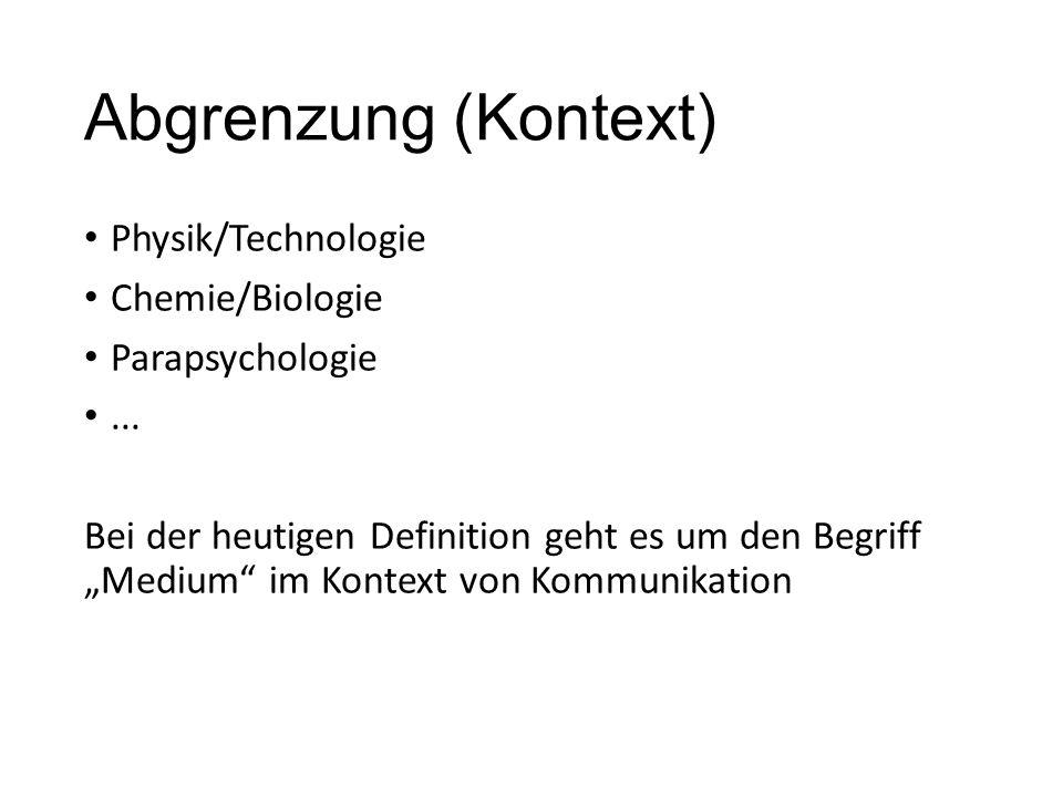 """Abgrenzung (Kontext) Physik/Technologie Chemie/Biologie Parapsychologie... Bei der heutigen Definition geht es um den Begriff """"Medium"""" im Kontext von"""