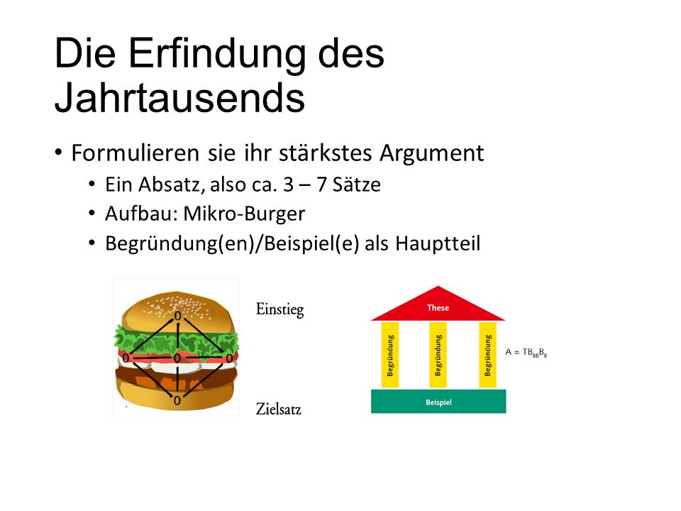 Die Erfindung des Jahrtausends Formulieren sie ihr stärkstes Argument Ein Absatz, also ca. 3 – 7 Sätze Aufbau: Mikro-Burger Begründung(en)/Beispiel(e)