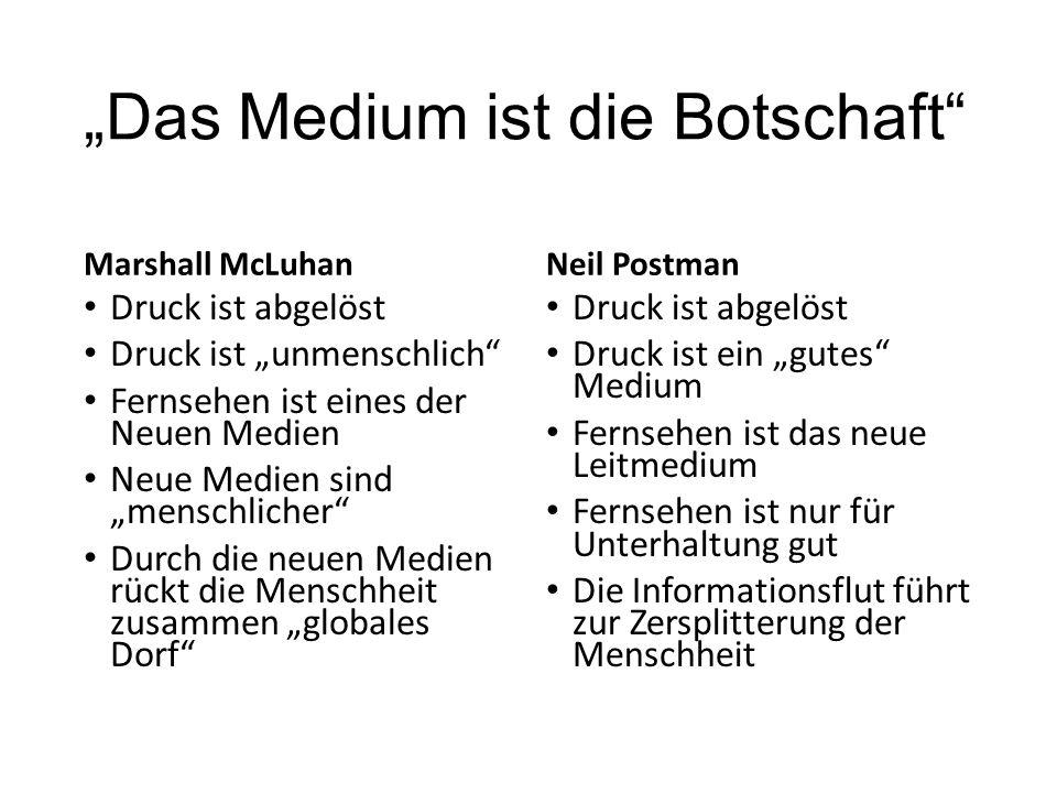 """""""Das Medium ist die Botschaft"""" Marshall McLuhan Druck ist abgelöst Druck ist """"unmenschlich"""" Fernsehen ist eines der Neuen Medien Neue Medien sind """"men"""