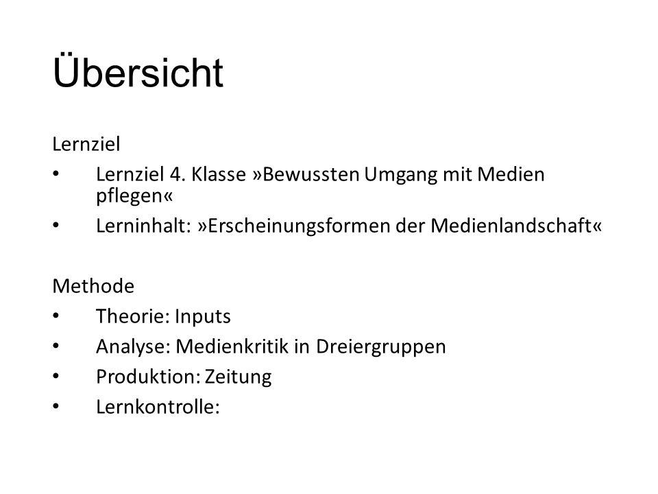 Übersicht Lernziel Lernziel 4. Klasse »Bewussten Umgang mit Medien pflegen« Lerninhalt: »Erscheinungsformen der Medienlandschaft« Methode Theorie: Inp