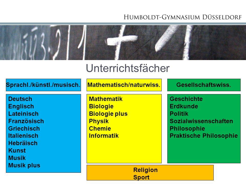 Unterrichtsfächer Sprachl./künstl./musisch.Mathematisch/naturwiss.Gesellschaftswiss.