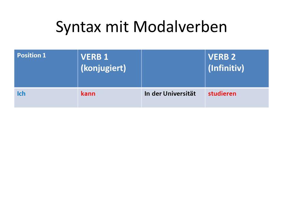 Syntax mit Modalverben Position 1 VERB 1 (konjugiert) VERB 2 (Infinitiv) IchkannIn der Universitätstudieren
