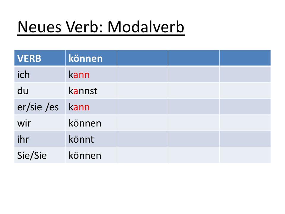 Neues Verb: Modalverb VERBkönnen ichkann dukannst er/sie /eskann wirkönnen ihrkönnt Sie/Siekönnen